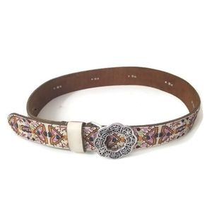 Lucky Brand belt embroidered leather sz M…